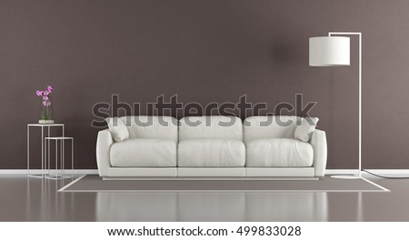 Brown contemporary living room with white couch and floor lamp - 3d rendering