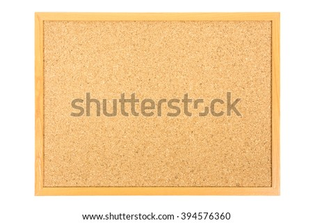 Brown cork board isolated on white background