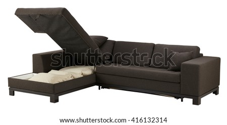 Brown corner couch bed with storage isolated on white include clipping path - stock photo