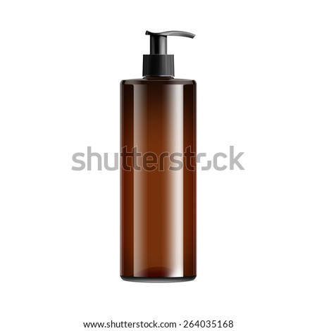 Brown Cosmetic Bottle With Batcher - stock photo