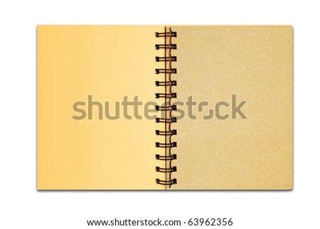 brown cover recycle paper blank notebook open two page isolated on white background for multipurpose use - stock photo