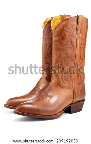 Brown Cowboy Boots - stock photo