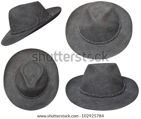 Brown cowboy hat in different views. This hat was bought in Pisac(Peru) in summer 2011 for 25 sol. - stock photo