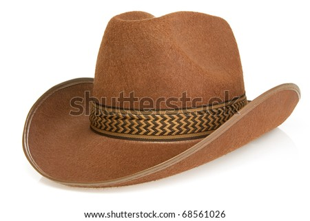 brown cowboy hat isolated on white background - stock photo