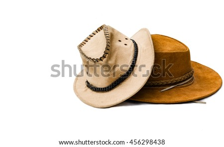 Brown cowboy hat - with white background -  isolated - stock photo