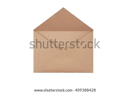 Brown craft envelope isolated on white background - stock photo