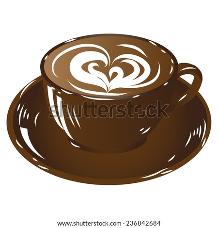 brown cup coffee, hot drink chocolate icon isolated on white background illustration raster - stock photo