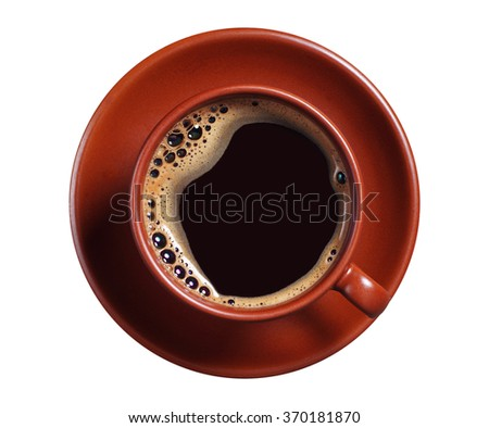 Brown cup of hot coffee isolated on white background, top view - stock photo