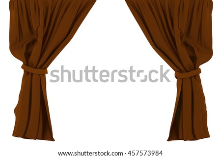 Brown curtains isolated on white background. Include clipping path. 3d render