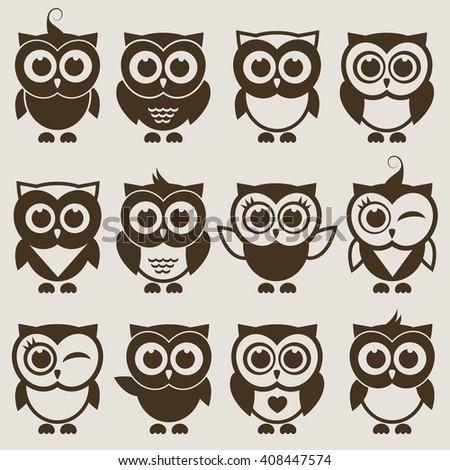 Brown cute Owl set. Raster version - stock photo