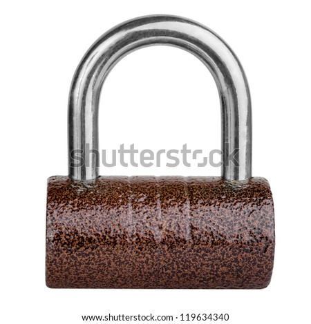Brown cylindrical lock isolated on white background with clipping path