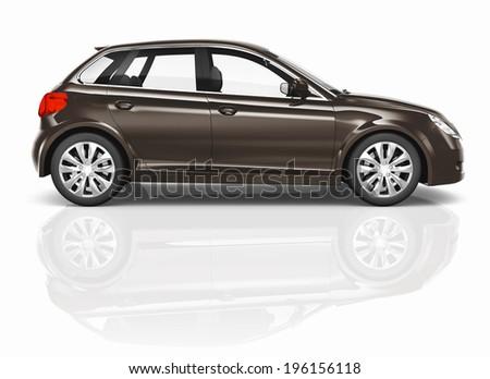 Brown 3D Hatchback Car Illustration - stock photo