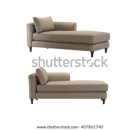 Brown daybeds with pillows, isolated with clipping mask.  - stock photo