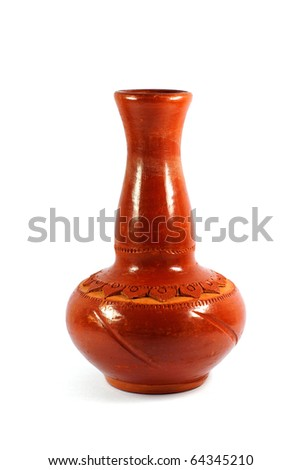 Brown decorative clay vase isolated on white - stock photo