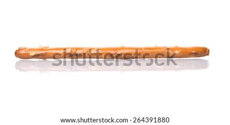 Brown, delicious pretzel sticks over white background - stock photo