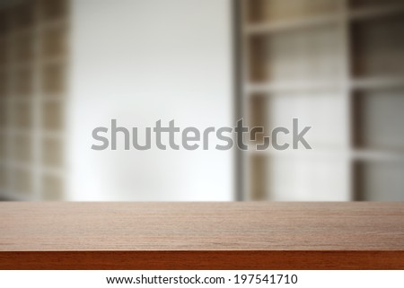 brown desk and wall  - stock photo