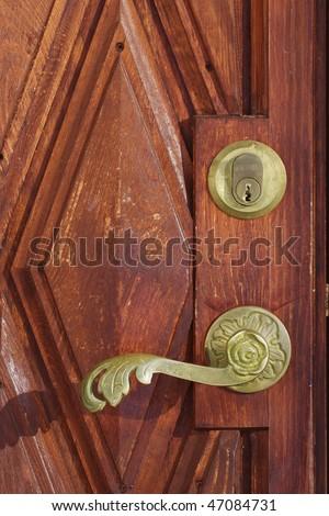 Brown door with a copper door knob & Door Copper Door Handle Knob Stock Images Royalty-Free Images ... pezcame.com