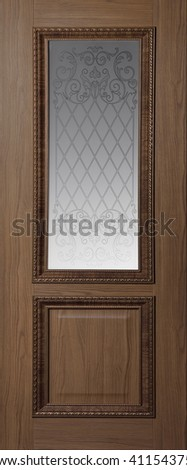 brown door with glass