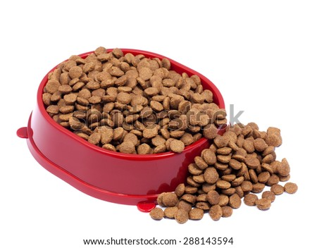 Brown dry cat or dog food in red bowl isolated on white backgroud - stock photo