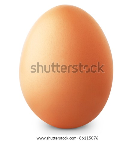 Brown egg isolated on white background + Clipping Path - stock photo