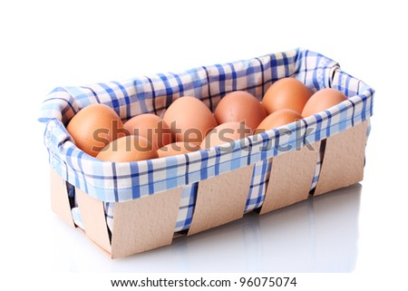 brown eggs in box isolated on white - stock photo