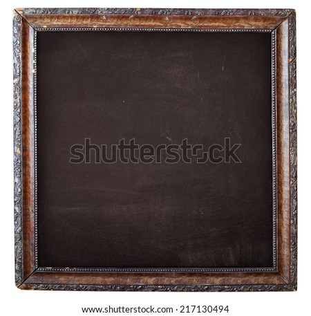 Brown Empty Chalkboard, Vintage Wooden Frame with Floral Ornament, isolated on white