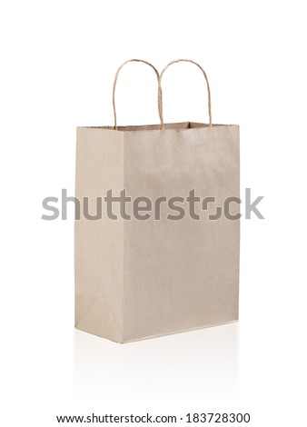 Brown empty paper bag isolated on white background