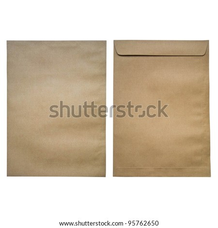 brown envelop front and back on isolated background - stock photo