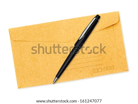 Brown envelope and pen isolated on white background