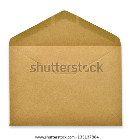 Brown Envelope document on white background - stock photo