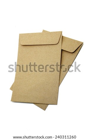 Brown Envelope isolate on white background - stock photo