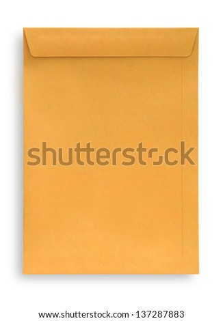 Brown envelope isolated on white, clipping path.