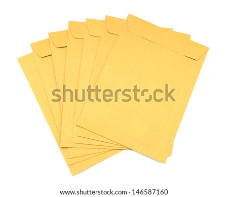 brown envelope on white background - stock photo