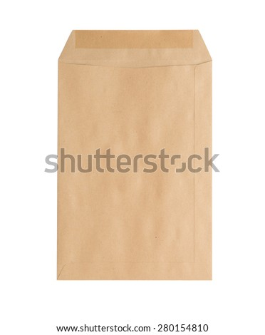 Brown Envelope  on white background - stock photo