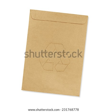 Brown envelope with recycle symbol Isolated on white background - stock photo