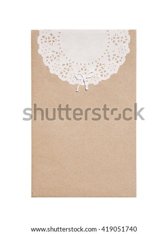 Brown envelope with stencil white paper isolated on white background. - stock photo