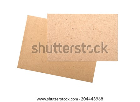 Brown envelopes Cardboard sheet of recycle paper gift cards and invitations isolated on white background. - stock photo