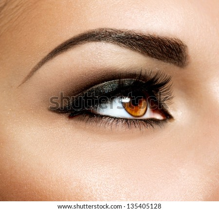 Brown Eye Makeup. Eyes Make-up. Beautiful Eyes Vintage Style Make up detail. Eyeliner - stock photo