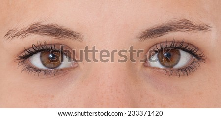 Brown eyes of a female person. - stock photo