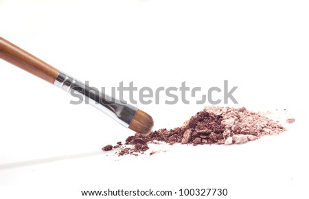brown eyeshadow and brown makeup brush  isolated on white - stock photo