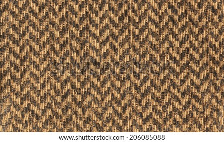 Brown fabric with zigzag lines - stock photo
