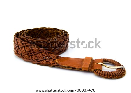 Brown female belt on a white background