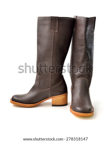 Brown female boots isolated on white background, selective focus.
