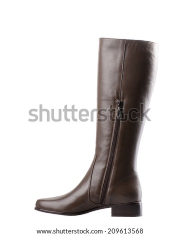 Brown female high boot isolated on white background.