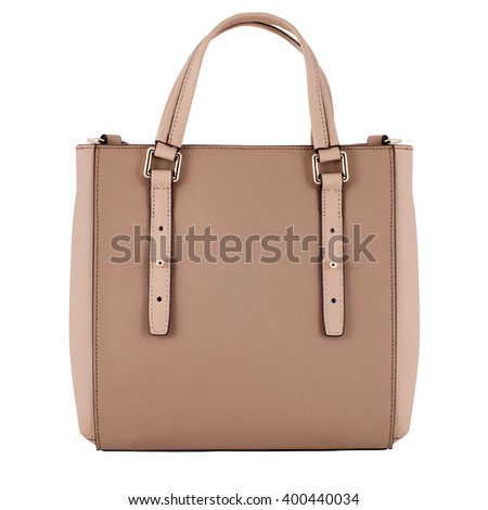 Brown female leather bag isolated on white background. - stock photo