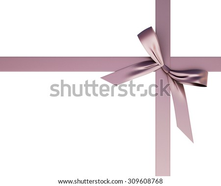 Brown festive ribbon with a bow isolated on white background. Festive ribbon with a bow for your design. 3d. - stock photo