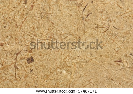 Brown fiber, thin film paper details close up - stock photo