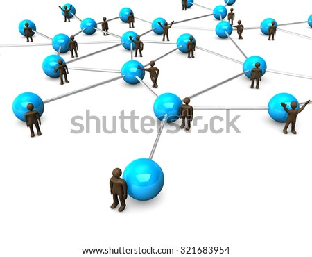 Brown figurines, blue network