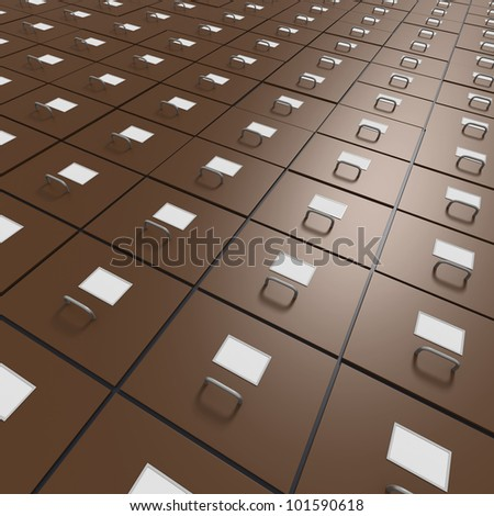 Brown file cabinets in endless rows - stock photo
