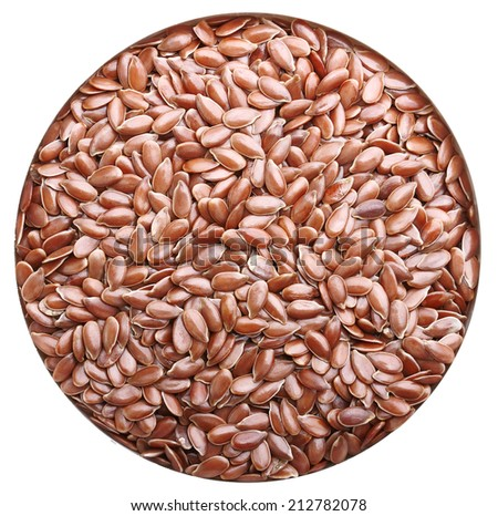 Brown flax seeds isolated on white background - stock photo